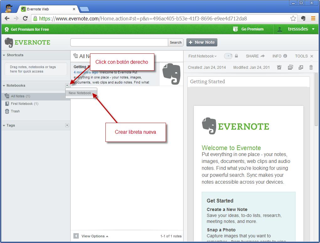 DDD - Evernote - Crear Libreta 1