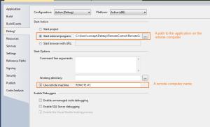 Opciones de inicio de depuración de Visual Studio