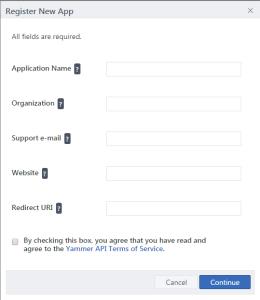 Formulario de registro de una nueva app en Yammer