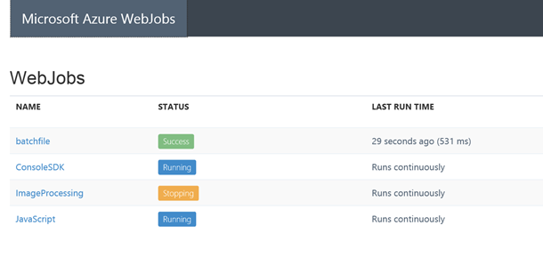 Webjobs Manager Kudu Portal